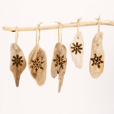 "Set Of Five Driftwood Christmas Ornaments With Wood Burned Snowflake ""let It…"