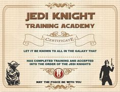 jedi knight certificate star wars party favor sci by sunnshhiine birthday party ideas pinterest star wars party star wars birthday and birthday party
