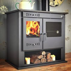 Wood Burning and Multi Fuel Stoves. Back Boiler Stoves. Stoves with Back Boiler. You save money on your stove. Wood Burning Cook Stove, Wood Stove Cooking, Kitchen Stove, Stove Oven, Cooking Ham, Easy Cooking, Oven Cooker, Range Cooker, Inset Stoves