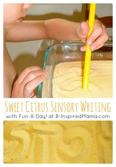 Learn how to make a sweet citrus scented Sensory Tray for Preschool writing practice for your kids. Perfect for fine motor practice and sensory play, too!