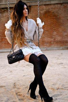 H&M cardigan - Pura Lopez shoes - Topshop dress - Chanel bag so gorgeous Look Fashion, High Fashion, Womens Fashion, Fashion Trends, Fashion Goth, Fall Fashion, Rocker Girl, Looks Street Style, Look Chic
