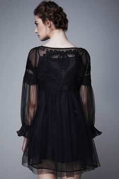 Opaque Embroidered Black Dress #Romwe