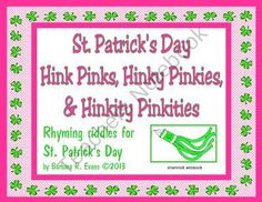Sure and you'll be glad to share these St. Patrick's Day Hink Pinks, Hinky Pinkies, & Hinkity Pinkities with your class. FREE