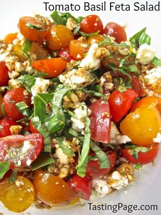 Tomato Basil Feta Salad plus 12 Terrific Garden-Fresh Tomato Recipes- A great way to use up the cherry tomatoes growing in your garden!