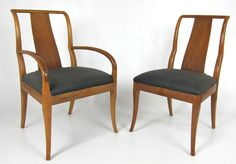 Exceptional Set of Six Sabre Leg Dining Chairs | From a unique collection of antique and modern dining room chairs at https://www.1stdibs.com/furniture/seating/dining-room-chairs/
