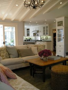 ceiling coffee tables, cottag, living rooms, family rooms, living room designs, hous, kitchen, live room, vaulted ceilings