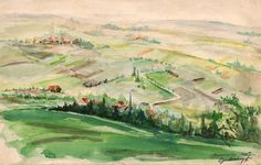 "Jakob Zim (Cymberknopf). ""View of Buchenwald, a Few Days after Liberation"". Buchenwald, 1945. Watercolor on paper. 18.7 x 29.3 cm. Gift of the artist. Collection of the Art Museum, Yad Vashem"