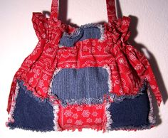 Handmade Red Denim Ragged Bag by daisydenims