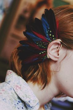 earring feathered...