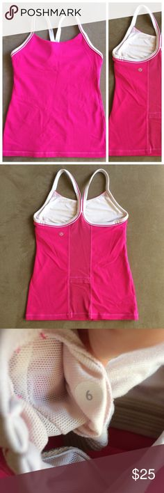 Lululemon pink power Y tank size 6 This pink tank has white details. The back has a mesh section with a small pocket. It is very clean! lululemon athletica Tops Tank Tops