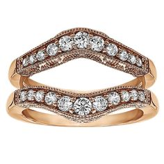 Sterling Silver 1ct Round Cubic Zirconia Wedding Ring and Ring Guard Set (Rose Plated Sterling Silver, Size 8.5), Women's, Pink