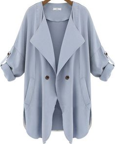 Blue Long Sleeve Pockets Trench Coat pictures
