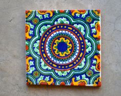 Add a special touch to any area or project with these unique beautiful Mexican tiles. Size: 4 x4 inch You will receive a box of 25 Mexican tiles