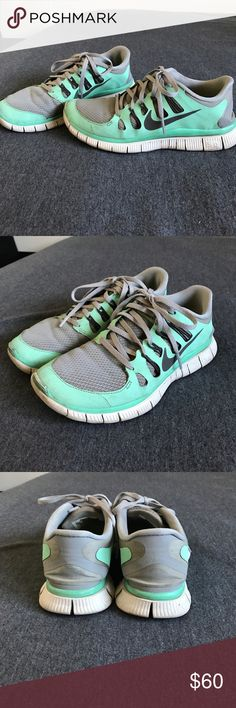 Nike Free 5.0 Turquoise/Grey 2013 or 2014 Nike Free 5.0 in grey and turquoise color! Definitely put to good use but taken great care of and still in great condition. No signs of wear and tear on the inside, just some discoloration on the outside. NOTE: actually a size 8 but Nike Frees are known for running a 1/2 size small so they fit like a regular 7.5 Nike Shoes Athletic Shoes