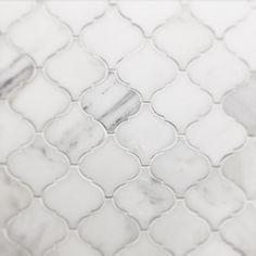 White Thassos and Bianco Carrara Marble Waterjet Mosaic Tile in Arabesque Marrakech Arabesque Tile Backsplash, Wall Tiles, Moroccan Tile Backsplash, Beadboard Backsplash, Herringbone Backsplash, Bathroom Countertops, Subway Tiles, Backsplash Ideas, Tiling
