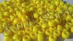 100 YELLOW pony beads by KandiStash on Etsy, $2.00