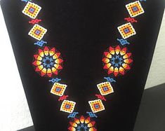 Mexican Huichol Necklace Art Beaded Adjustable Jewelry Hand Made N-012