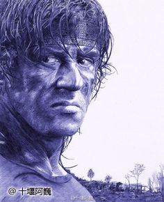 Sylvester Stallone in 'First Blood.' Drawn by a young Chinese painter with a ballpoint pen. http://www.visiontimes.com/2015/04/25/when-celebrities-meet-ballpoint-pen-art.html