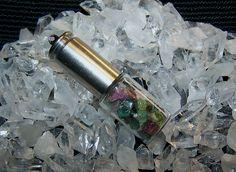 Gemstone Glass Vial Silver Bullet Jewelry Pendant