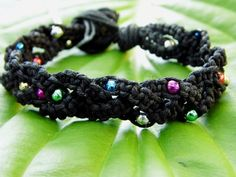 Black Hemp Bracelet w/MultiColored by PeaceLoveNKnottyHemp on Etsy, $10.00
