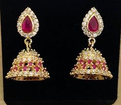 CZ and ruby stones jhumkas Size : 1 inch Code : ERJ 409 Price : 400/- Whats app to 09581193795 for order processing