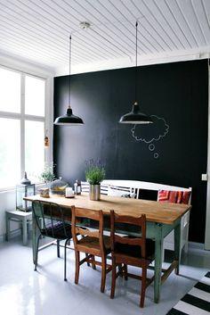 Schoolbordverf op muur