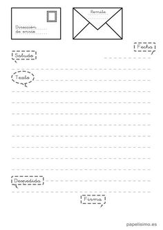 plantilla-partes-de-una-carta-para-ninos Spanish Lesson Plans, Spanish Lessons, Spanish Teacher, Spanish Classroom, First Grade Activities, Writing Activities, Carta Formal, Spanish Teaching Resources, Spelling And Grammar