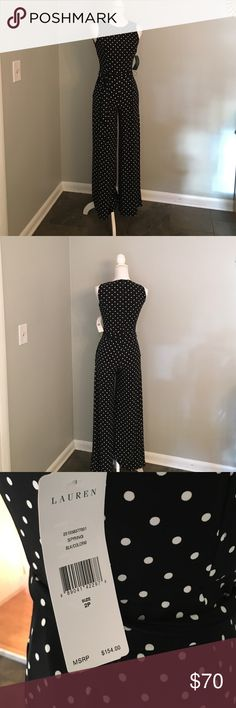 BNWT Lauren Ralph Lauren Petite Jumpsuit Brand new and never worn! Optional tie belt. Sleeveless. Stretchy material for comfort. 95% Polyester, 5% Elastane. Hidden pockets at hips. Perfect condition. No stains, tears or snags. Lauren Ralph Lauren Other