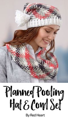 Planned Pooling Hat and Cowl Set free crochet pattern in Super Saver Pooling yarn. Crochet a flirty plaid hat and cowl by … Crochet Scarves, Crochet Yarn, Crochet Clothes, Free Crochet, Crochet Patterns For Beginners, Easy Crochet Patterns, Scarf Patterns, Crochet Designs, Pooling Crochet