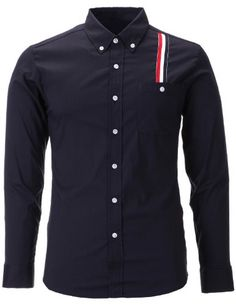 FLATSEVEN Mens Slim Fit Stripe Patched Casual Dress Shirts Navy, L FLATSEVEN http://www.amazon.com/dp/B00FYQY98Y/ref=cm_sw_r_pi_dp_3mU7ub14ZZRZB #FLATSEVEN #Mens #SlimFit #Casual #Shirts #mensshirts #mensfashion