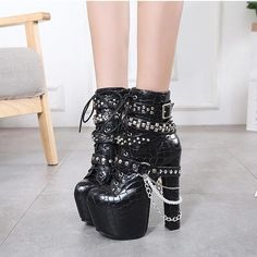 66e816b35b353d Women Chain Platform Lace Up Gothic Punk Super High Heel Ankle Boots