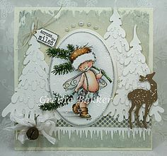Gorgeous Christmas card using a sweet Mo Manning image. Love all the frantage on the trees and that sweet deer. Gretha Bakker has done it again! Love it :)