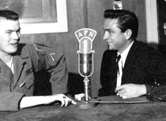 Johnny Cash is interviewed at Frankfurt, Germany, in 1959. Ernie Weather all/stars and Stripes