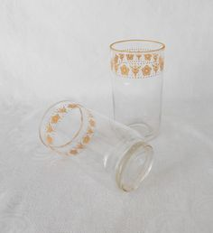 Butterfly Gold ( Pyrex Corelle Pattern ) Beverage Glasses by WeBGlass on Etsy