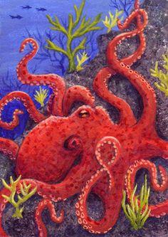 Red Octopus ATC by *TabLynn on deviantART