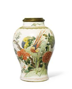 CHINA, QING DYNASTY, 19TH CENTURY BALUSTER JAR painted with birds and flowers, mounted as a lamp famille-verte porcelain