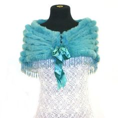 Luxurious & Elegant Angora/Rabbit Fur Briadal Wedding Triangle Shawl Shrug Scarf Wrap with beaded fringe--Turquoise by Fur Scarf & Shawl. $50.00. Measurements (Approx):  length (across top of triangle): 100cm height (down middle of triangle): 45cm