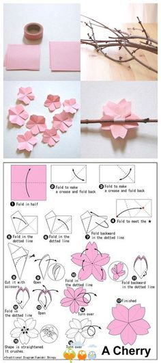 We've always wanted to build origami shapes, but it looked too hard to learn. Turns out we were wrong, we found these awesome origami shapes. Flower Crafts, Diy Flowers, Paper Flowers, Flower Diy, Flower Tree, Wedding Flowers, Oragami Flowers Easy, Flower Branch, Peach Flowers