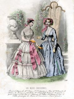 Summer dresses from the July 1847 issue of La Mode Parisiennes.