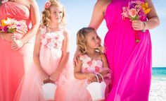 pink flower girl destin beach wedding in Florida by Princess Wedding co