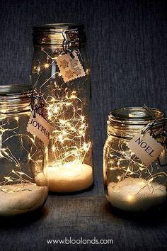 Guirlande LED lumineuse - - Happy Christmas - Noel 2020 ideas-Happy New Year-Christmas Led Garland, Light Garland, Winter Christmas, Christmas Home, Christmas Crafts, Fall Crafts, Fall Winter, Glass Jars, Mason Jars