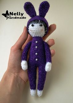Doll in Bunny Costume Amigurumi - Free Russian Pattern here: http://nellyhandmade.blogspot.com.es/2014/07/blog-post_21.html  English Google Translation here: https://translate.google.com.co/translate?hl=es&sl=ru&tl=en&u=http%3A%2F%2Fnellyhandmade.blogspot.com.es%2F2014%2F07%2Fblog-post_21.html