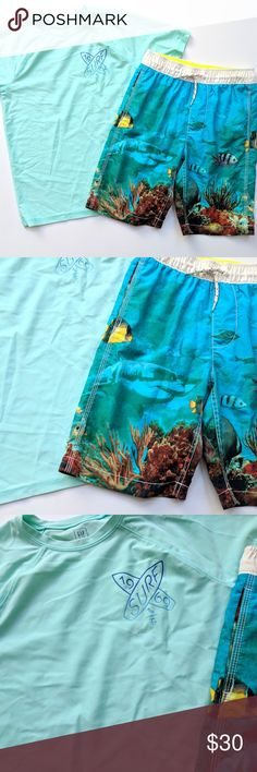 Gap Kids Boys Swim Trunks Rash Guard Shirt Top Set Gap Kids Boys Swim Trunks Rash Guard Shirt Top Set Sharks Set   Size XL 12  VGUC, one tiny dot on the rash guard  My items come from a smoke-free household, we do have a kitty, so an occasional hair may occur! GAP Swim