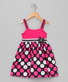 Take a look at this Hot Pink & Black Polka Dot Dress - Girls by Longstreet on #zulily today!