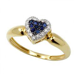 Anel Coração com Safira em Ouro 18K