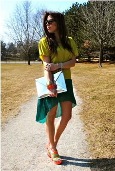Turquoise mullet skirt- love all but shoes....