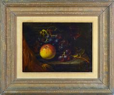 J. TIBBITS, ENGLISH 19TH CENTURY, ANTIQUE STILL LIFE W. APPLE AND GRAPES, SIGNED #Realism