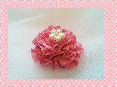 Brooch Pin Handmade Pink Ribbon With Pearl by Ladydarinefinecrafts