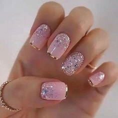 nail art designs with glitter \ nail art designs ; nail art designs for spring ; nail art designs for winter ; nail art designs with glitter ; nail art designs with rhinestones Elegant Nails, Classy Nails, Stylish Nails, Cute Nails, Silver Glitter Nails, Baby Pink Nails With Glitter, Gold Tip Nails, Pink Sparkly Nails, Pink Leopard Nails