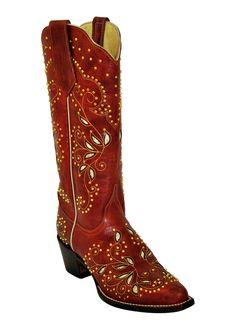 Ferrini Ladies Red Jezebel V-Toe Cowboy Boots